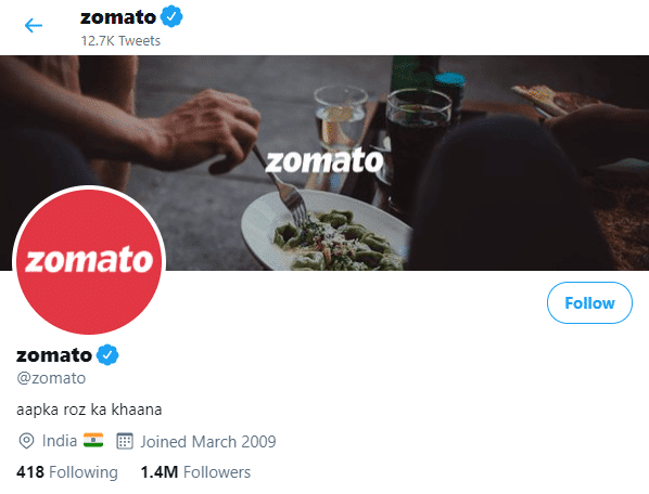 Zomato Twitter