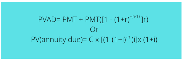 Formula For Present Value of Annuity Due